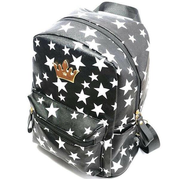 Stars Black Mini Backpack for Girls