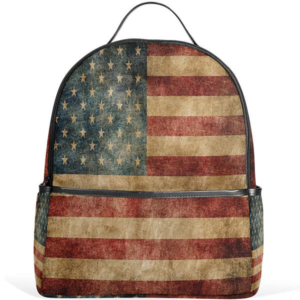 Water-Resistant Retro USA Flag Backpack