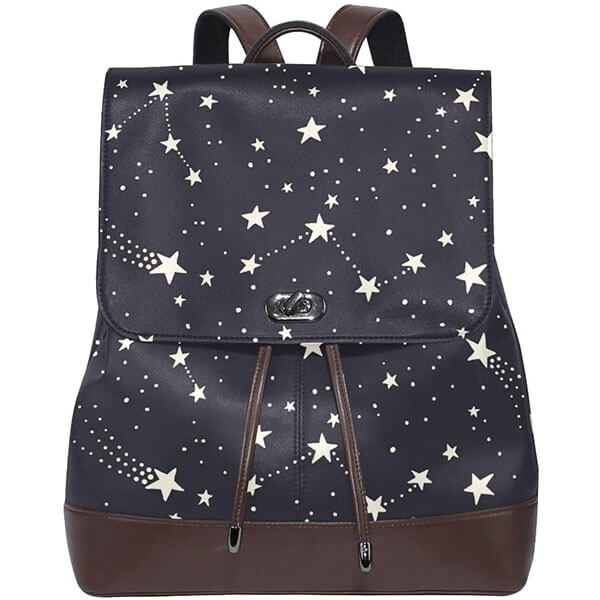 Pentagram Stars Genuine Leather Drawstring Backpack