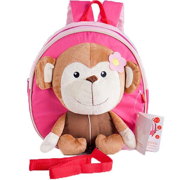 Pink Monkey Cartoon Backpack