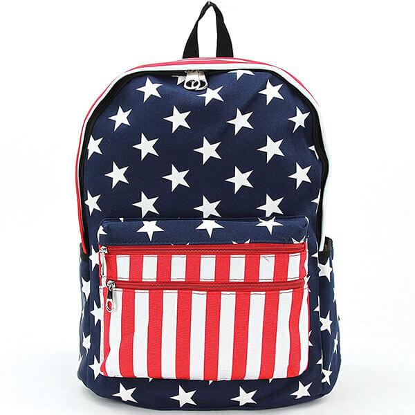 USA Flag Designed Vinyl Backpack
