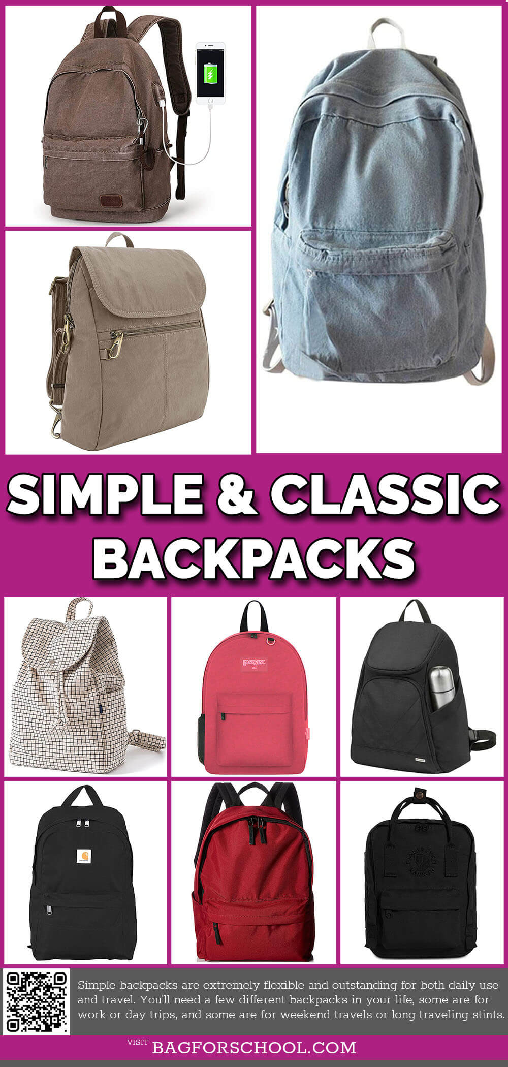 Simple and Classic Backpacks