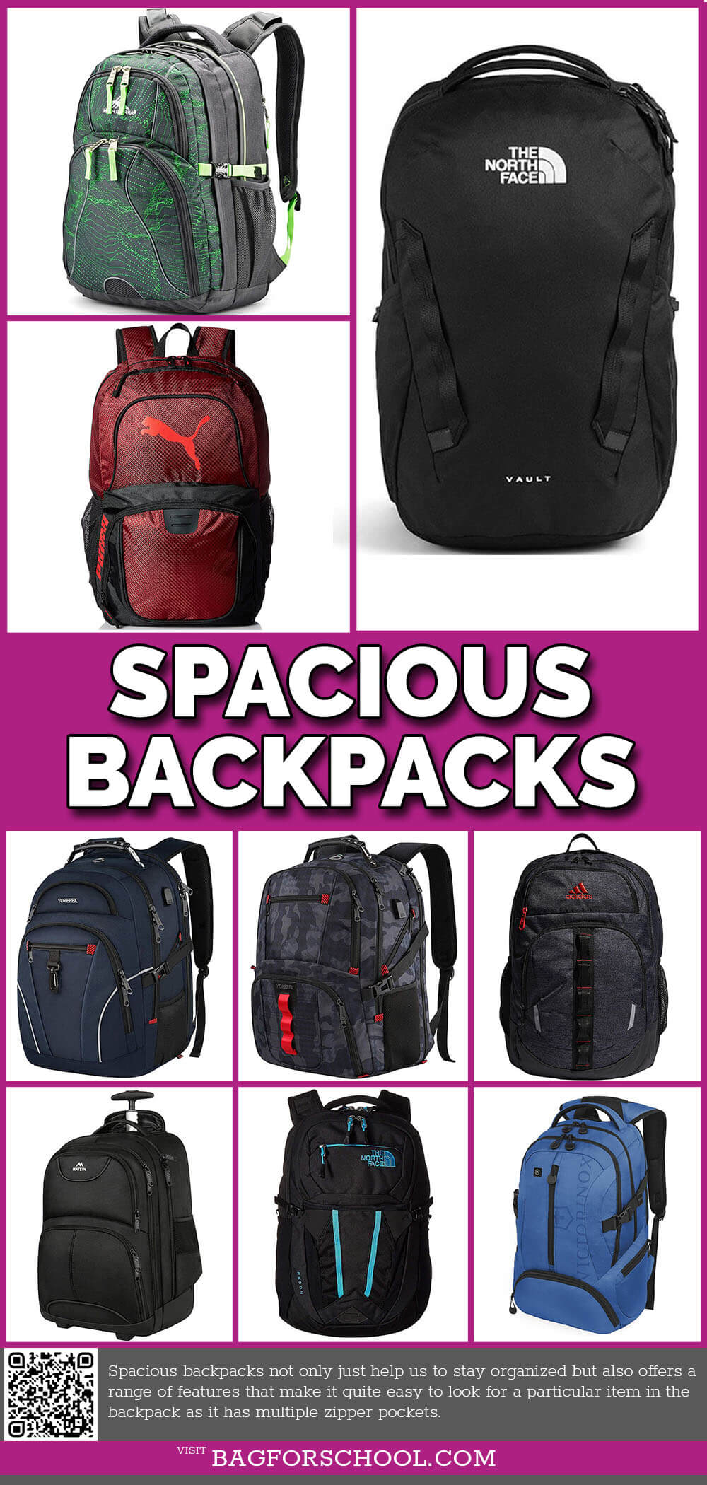 Spacious Backpacks