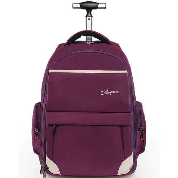 Adorable Purple Color Wheeled Laptop Backpack