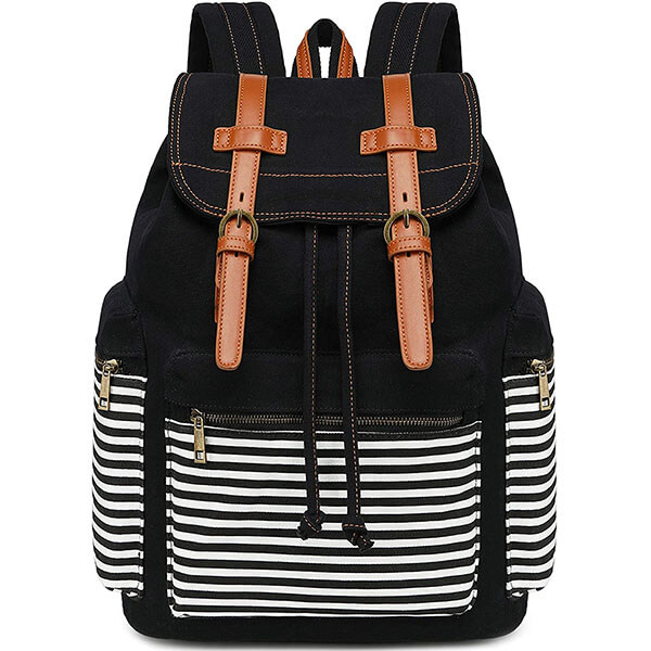 Multifunctional Women Striped Canvas Backpack