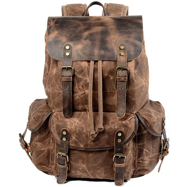 Water-Resistant Waxed Canvas Vintage Backpack