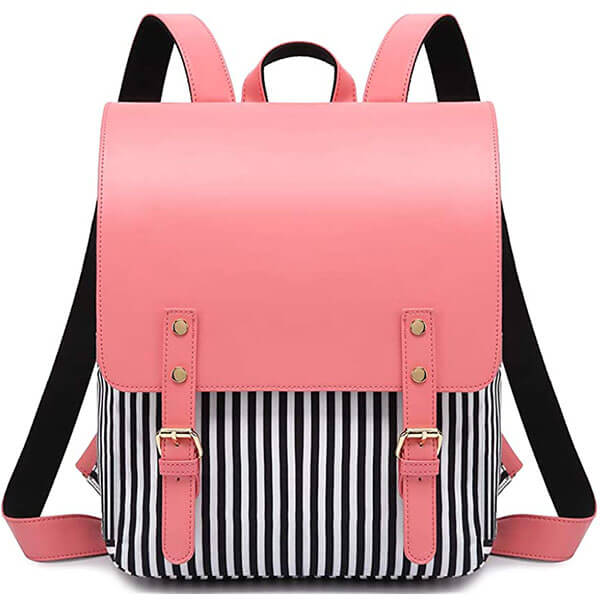 Canvas and PU Leather Based Women Laptop Backpack