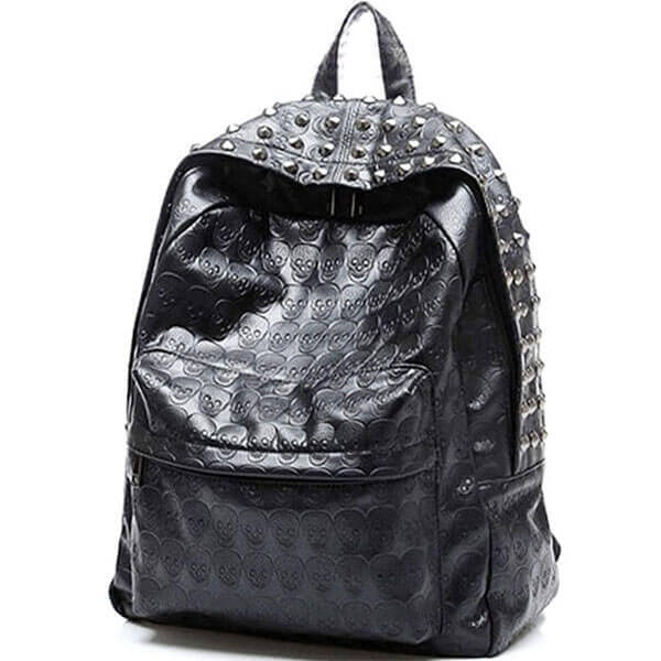 Skull Printed Studded Leather Backpack