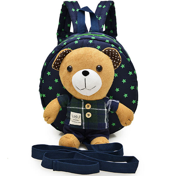Blue Plaid Bear Leash Book Bag for School