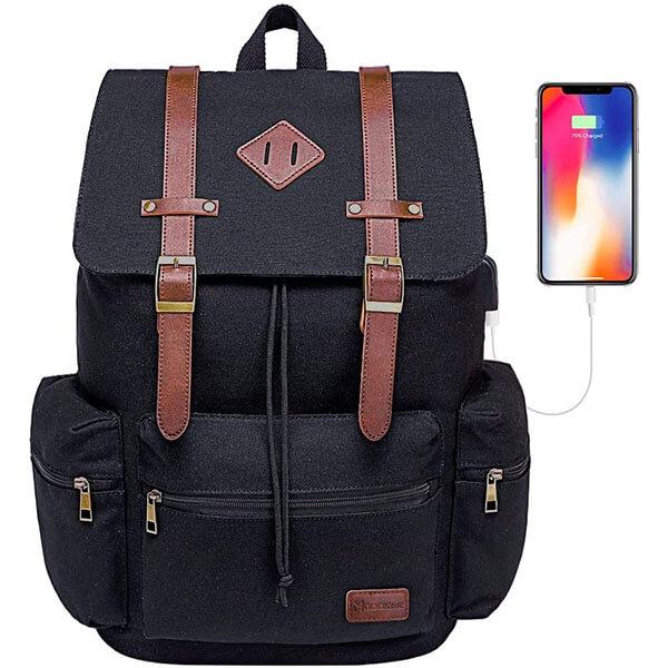 Modoker Vintage Backpack with USB Charging Port