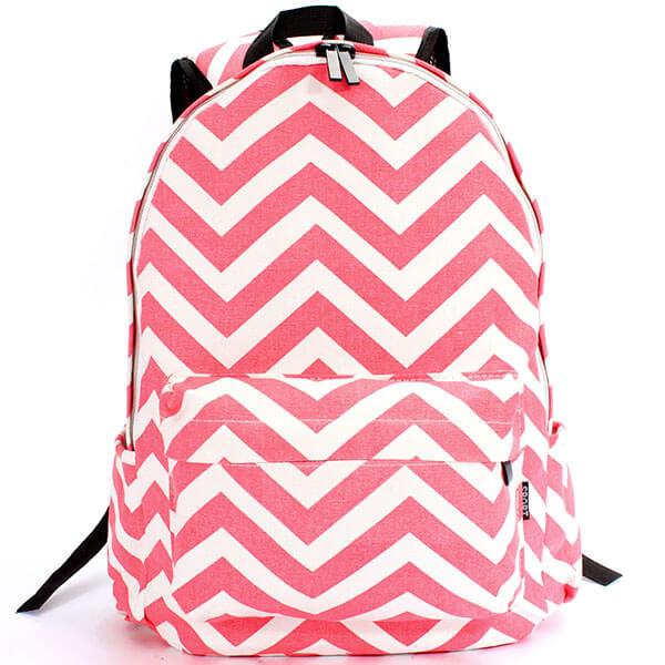 Women Girls Canvas Wave Stripe Backpack