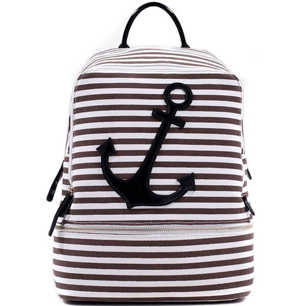 Women Canvas Backpack with Patent Leather Trim