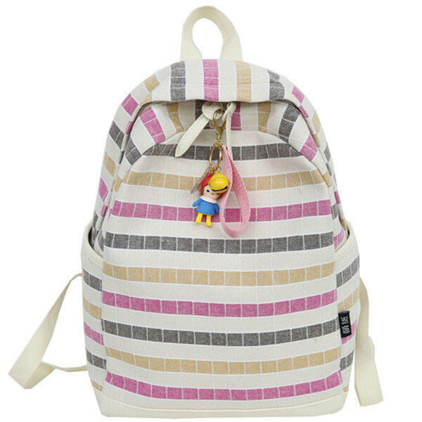 Fashionable Striped High School Backpack