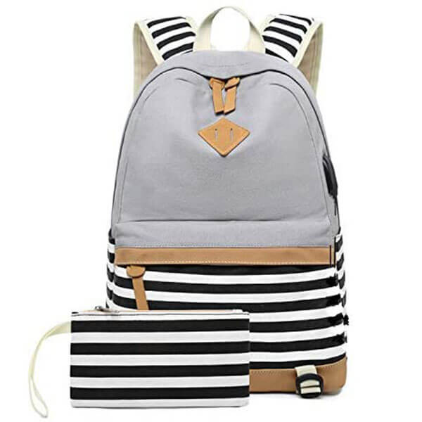 USB Charging Port Casual Stripe Backpack