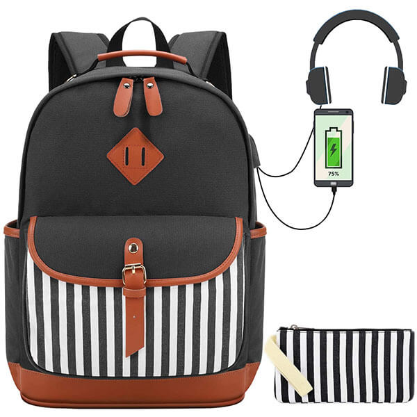 Classic Striped Canvas Backpack
