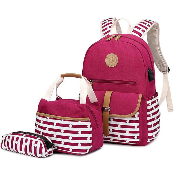 Canvas Based Women Stripe Laptop Backpack