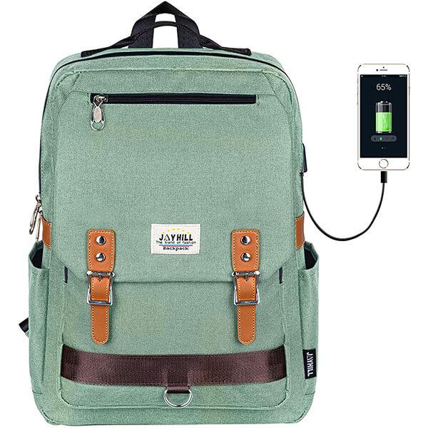 Vintage Oxford USB Backpack
