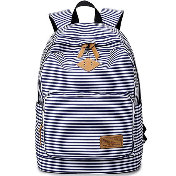 Girls Striped Canvas Backpack