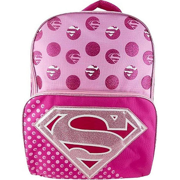 Glitter Accent Super Girl Logo Backpack