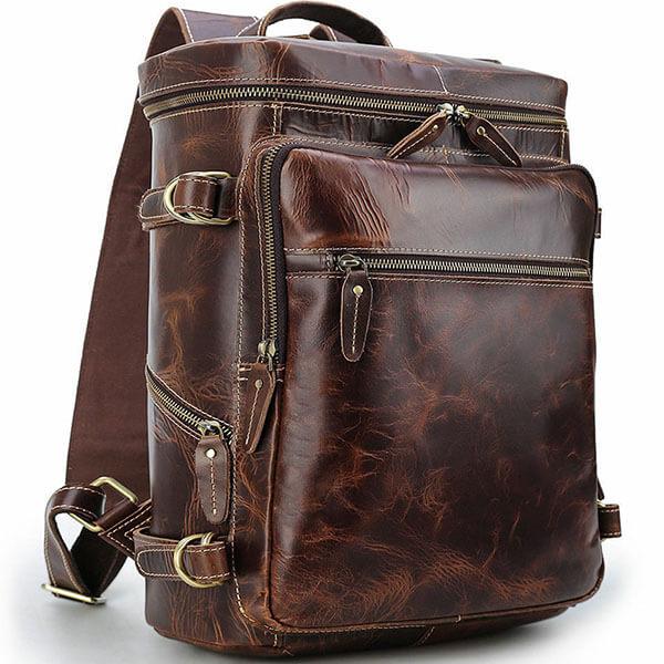 Vintage Retro Leather School Backpack