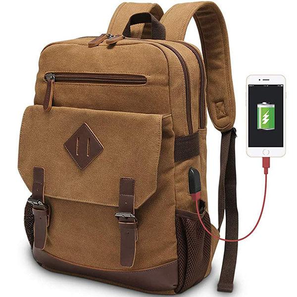Vintage Canvas USB Backpack