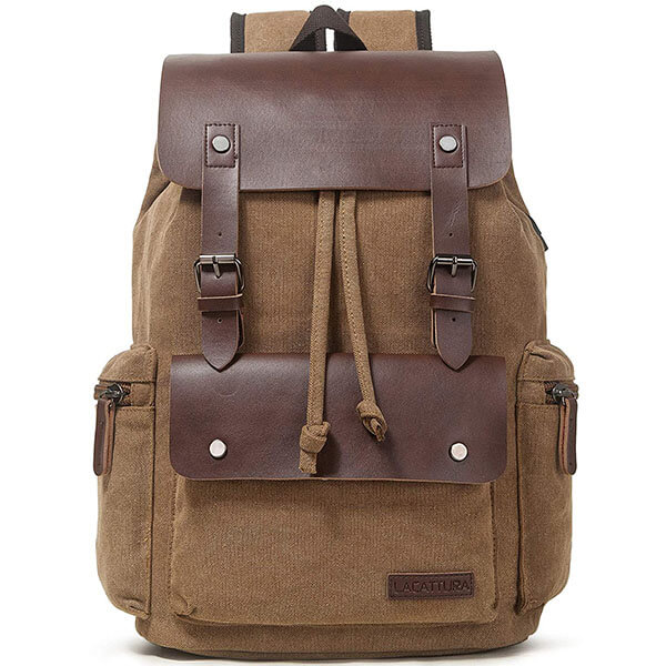 Vintage Leather Canvas School Backpack