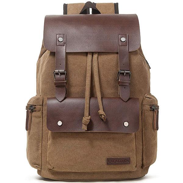Vintage Leather Canvas School Backpack