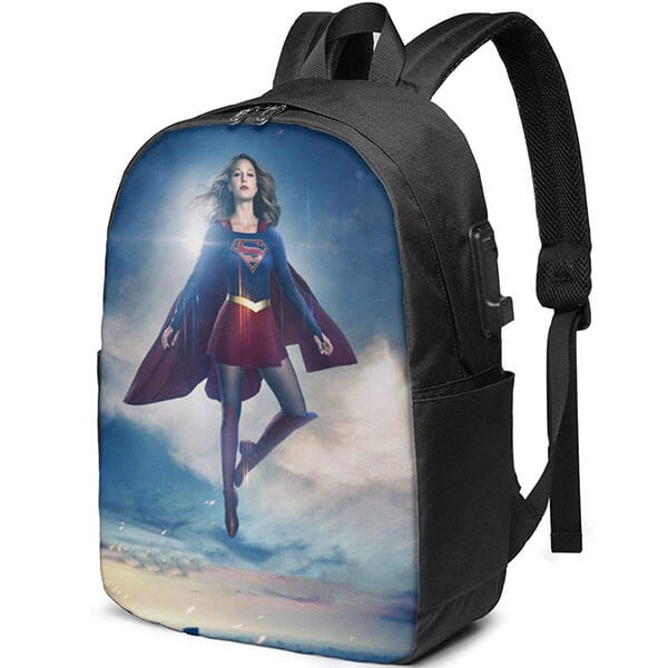 Double Coat Waterproof Supergirl USB Port Backpack