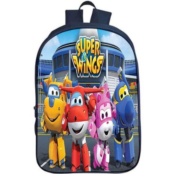 Multi-color Super Wings Character Printed School Backpack