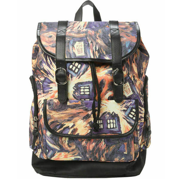 Multicolored Tardis Slouch Backpack