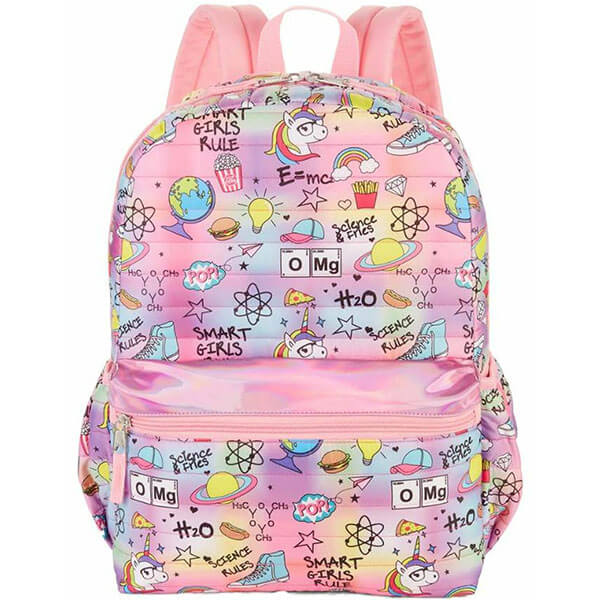 Pink Colored Quilted Science Backpack
