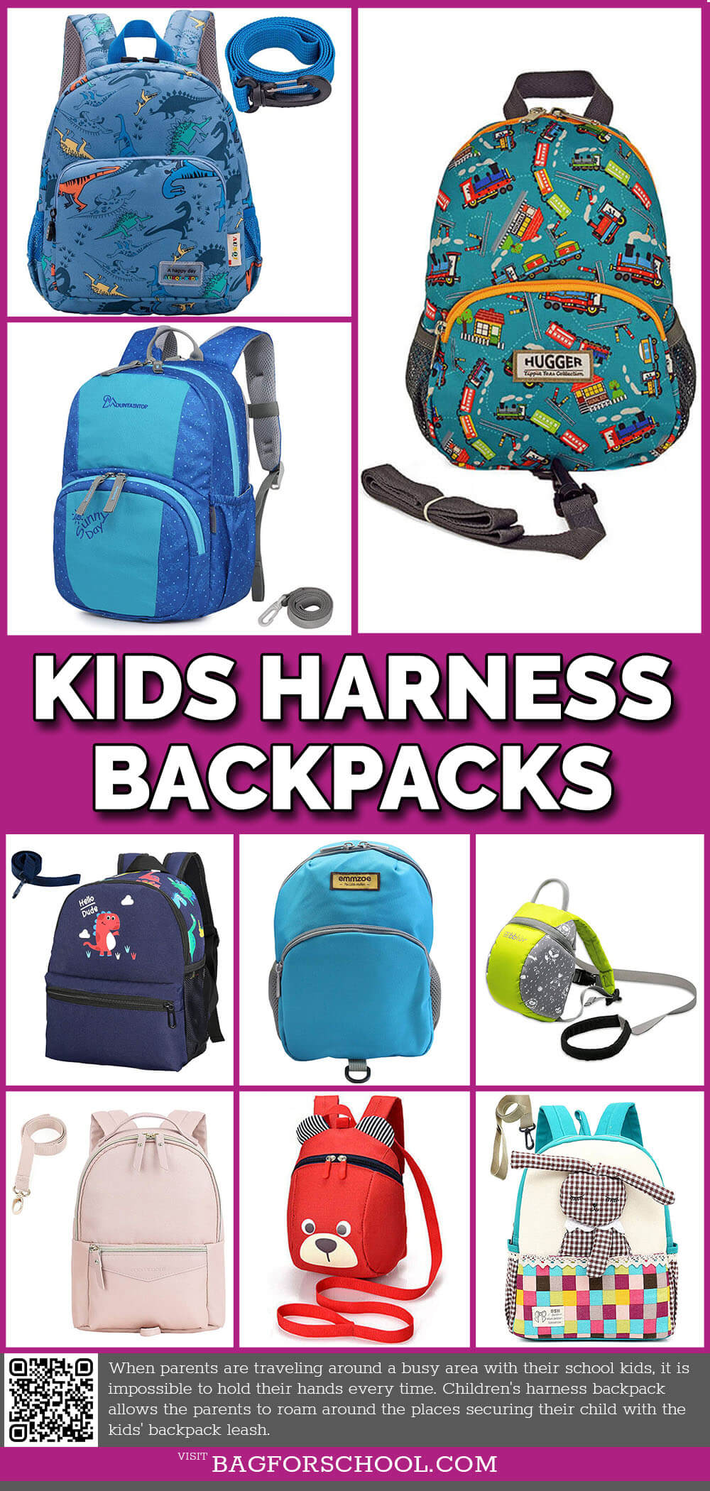 School Kids Harness Backpacks